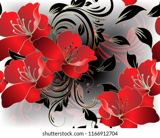 Modern floral 3d red flowers vector seamless pattern. Beautiful glowing floral background. Vintage line art tracery 3d ornament with red orchid lily flowers, leaves, swirls, dots. For cards, wallpaper