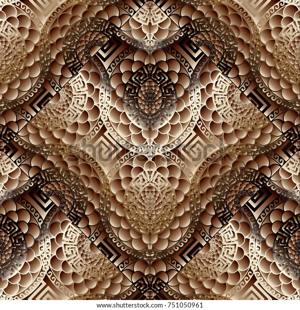 Modern Floral 3d Seamless Pattern Abstract Stock Vector