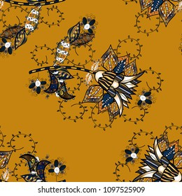 Modern floral background. Folk style. Amazing seamless floral pattern with bright colorful flowers and leaves on a yellow, black, brown and blue colors. The elegant the template for fashion prints.