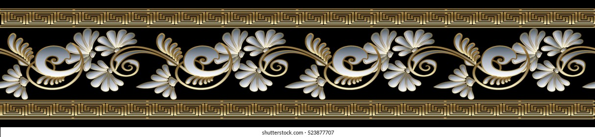 Modern floral border. Vector seamless pattern background wallpaper illustration with gold 3d vintage flowers, greek key, decorative ornaments