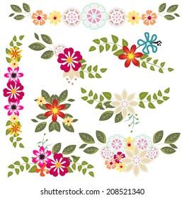 modern floral borders vector
