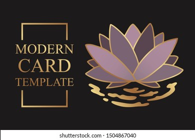 Modern floral luxury card template for poster or presentation with golden lines and pink lotus on a black background.