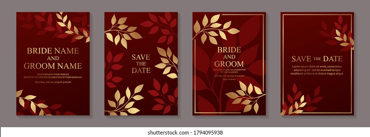 Modern floral luxury wedding invitation design or card templates for birthday greeting or certificate or cover with golden autumn leaves on a red background.