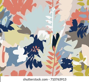 Modern floral seamless pattern. Hand drawn textures. Pastel colo