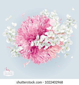 Modern floral vector  art - luxurious Chrysanthemums and Apple blossom round  arrangement in watercolor style for 8 March, wedding, Valentine's Day,  Mother's Day, sales and other events.