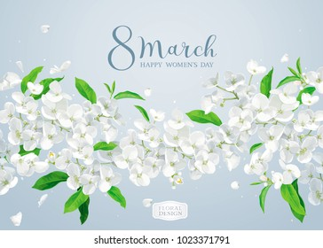 Modern floral vector  art - luxurious spring Apple blossom greeting card  in watercolor style for 8 March, wedding, Valentine's Day,  Mother's Day, sales and other events.