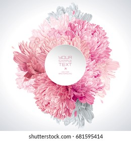 Modern floral vector art - luxurious pink, red and white asters composition with a round paper label for wedding, Valentine's Day,  Mother's Day, sales and other events