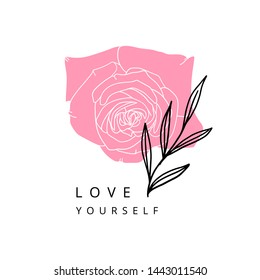 Modern flower illustration with slogan love yourself for print, t-shirt, card.