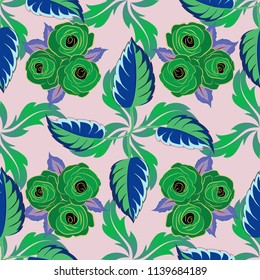 Modern flower pattern with royal flower. Colored orient pattern in blue, yellow and green colors. Seamless floral ornament.