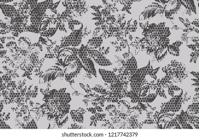 modern flowers with texture , honey comb, animal skin pattern . monochrome flower seamless design in vector