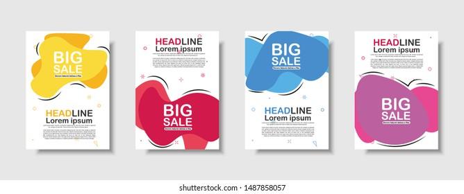 Modern fluid mobile for sale website banner, sale tag, Sale promotional material vector illustration A4. Banner template design, Flash sale special offer.