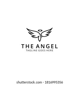 Modern fly angel with crown sign logo with wings silhouette style