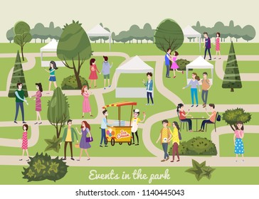 Modern flyer or poster template, Different various people characters, men and women in the park, outdoor festival with food trucks, walking people, buying and selling goods at park. on vacation