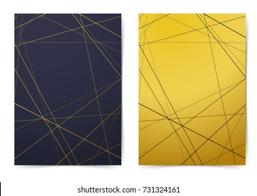 Modern folder collection with contemporary art-deco style line pattern. Golden brochure Leaflet flyer advert magazine cover report - A4 size. Business, science design book layout. Vector illustration