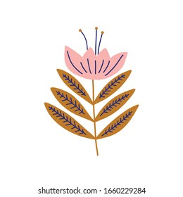 Modern folk boho single isolated flower in Scandinavian style. Floral Slovak plant cutout collage decor element. Swedish folklore drawing, Nordic wildflower concept. Vector EPS clip art design