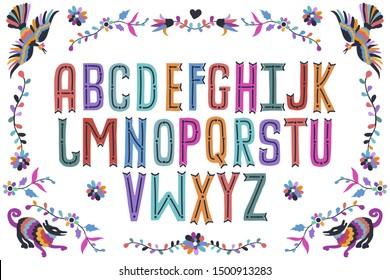 Modern folk otomi font alphabet. Handwritten font letters. Hand lettering font for your design: logo, slogan, decor postcard, greeting, motivation quotes, positive message