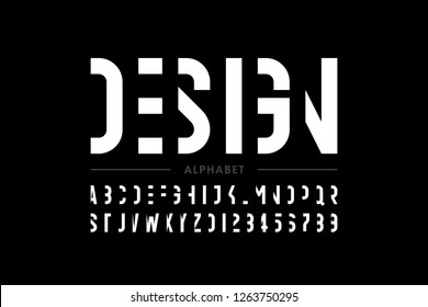 Modern font design, alphabet letters and numbers vector illustration