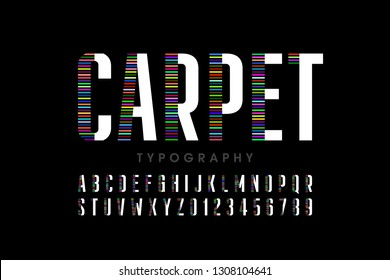 Modern font design, carpet style alphabet letters and numbers