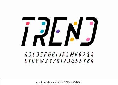 Modern font design, trendy alphabet letters and numbers vector illustration
