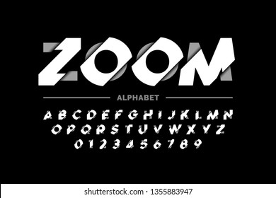 Modern font design, zoom style alphabet letters and numbers vector illustration