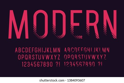 Modern font with shadow Geometric sport design Futuristic cool letters and numbers Tech abc Vector alphabet