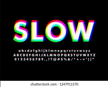 Modern font typeface with Glowing red green blue spectrum effect alphabet with full character for modern digital design