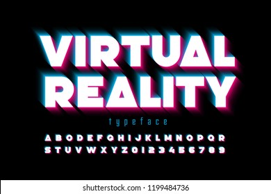 Modern font, virtual reality, alphabet letters and numbers vector illustration