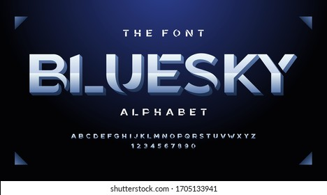 Modern fonts and alphabet, blue luxury expensive sport minimal classic urban futuristic typeface typo typography and number, uppercase lowercase. Vector illustration.