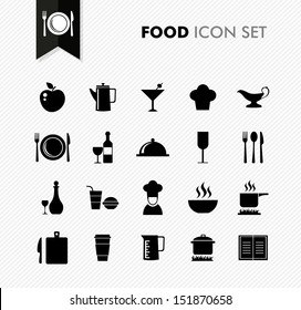 Modern food restaurant menu elements icon set. Vector file in layers for easy editing.