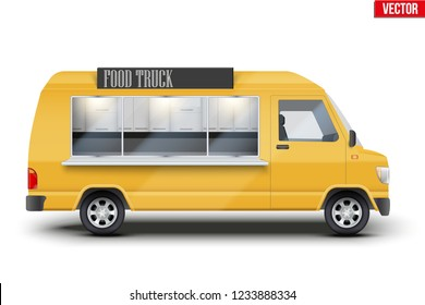 Modern Food Truck. Fast food van with window and signboard. Yellow color. Editable Vector illustration Isolated on white background.