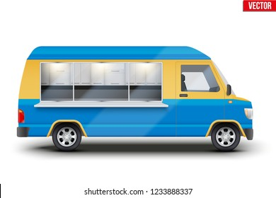 Modern Food Truck. Fast food van with window. Yellow and blue color. Editable Vector illustration Isolated on white background.