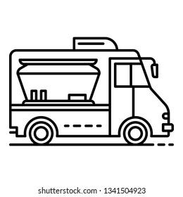 Modern food truck icon. Outline modern food truck vector icon for web design isolated on white background