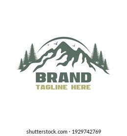Modern forest and mountains logo. Vector illustration.