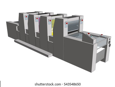 Modern four colors print press used in graphic arts isolated over white. CMYK process. Vector illustration