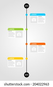 Modern four quarter timeline infographic  template design for project or presentation