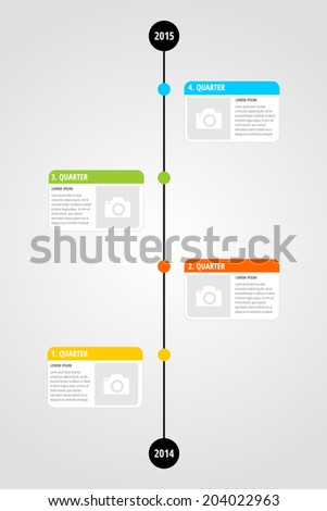 modern four quarter timeline infographic template stock vector