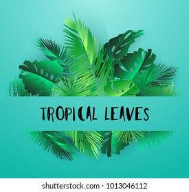 Modern Frame of Colorful Tropical Leaves on White Background. Greeting cards, wallpapers, Flyers and Banners jungle concept. Colorful realistic style. Vector illustration. EPS 10.