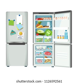 Modern fridge with different food set colorful poster