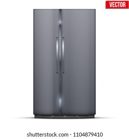 Modern Fridge Freezer refrigerator with double doors in silver color. Household tech and appliances. Vector Illustration isolated on white background.