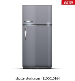 Modern Fridge Freezer refrigerator in silver color. Household tech and appliances. Vector Illustration isolated on white background.