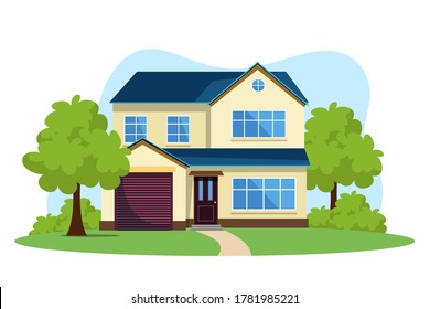Modern front of house flat vector illustration. Private house with yard exterior, facade drawing. Own property, real estate