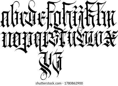 modern full gothic alphabet on white background