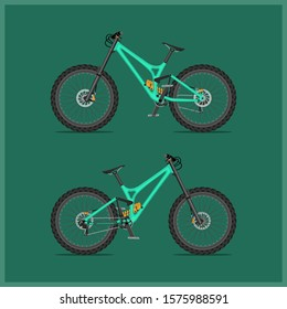 Modern full suspension bike for downhill on both sides. Very detailed. Each bolt, link on the chain is visible. All components separately can be taken and replaced for other bikes from this series.