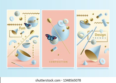 Modern fun vertical format banner set inspired by Memphis style with 3D geometric compositions in Spring and Summer theme