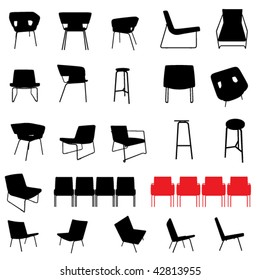modern furniture silhouette set