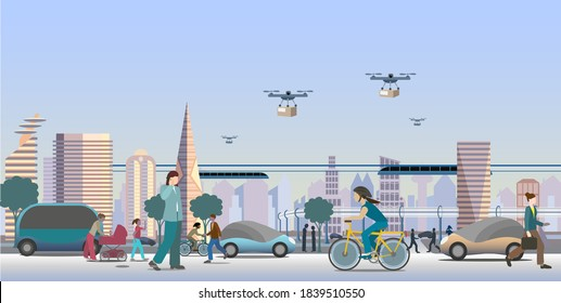 Modern  future city view. Renewable electrified city transports. Driverless vehicles and drones for light deliveries. Vector Illustration.