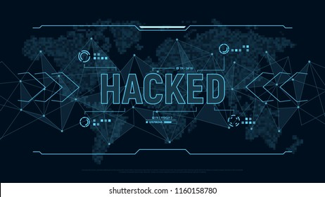 """Modern futuristic background """"Hacked"""". Polygons connection structure and world map in pixels in user interface display. Danger for personal data. Digital cyber security concept. Vector illustration."""