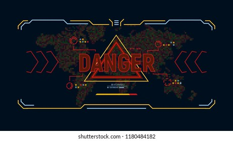 Modern futuristic background with warning message danger. Target HUD display. Sci-fi user interface design on background world map in pixels . Security concept. Vector illustration.
