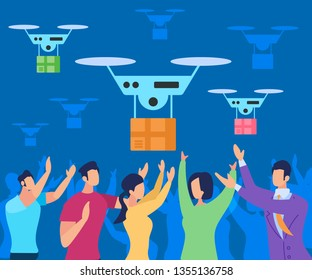 Modern Futuristic Delivery System with Drone Air Vehicle. Flight Copter Delivering Parcel to People. Future Aircraft Autonomous Truck Warehouse Robot Innovation. Cartoon Flat Vector Illustration