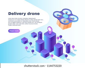 Modern futuristic delivery system with unmanned drone air vehicle. Flight copter delivering parcel future aircraft autonomous truck warehouse robot innovation vector concept illustration